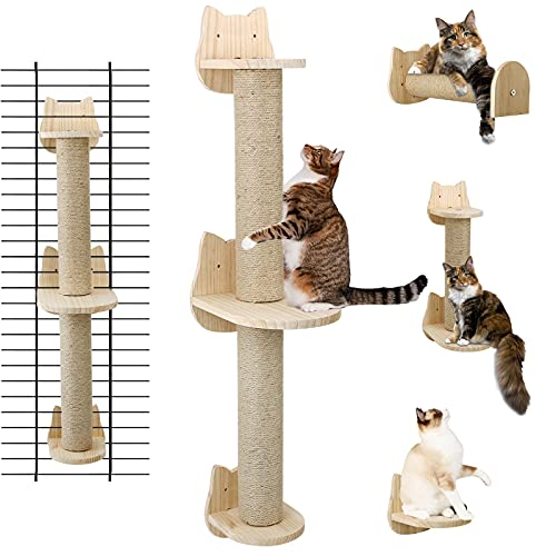Wall Mounted Cat Scratching Post - Sisal Cat Scratcher Solid Wood Cat Wall Shelves Steps Cat Furniture for Indoor Large Cats Kittens, 38 Inch Tall Cat Scratching Post Tree in Mutil- Assembly Ways