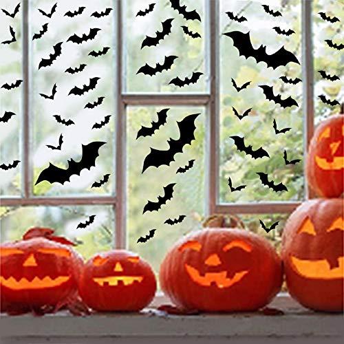 Tuopuda Halloween Wandtattoo Fledermaus Wandsticker Halloween Party Dekoration DIY Home Deko Wandaufkleber 3D Fledermäuse 60 pcs