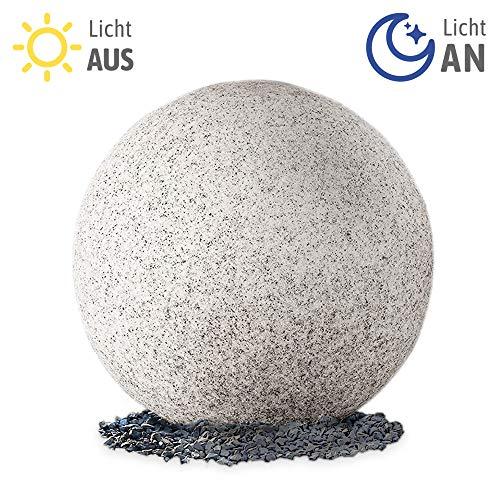 LED Leuchtkugel Gartenlampe mit Tageslichtsensor Ø 30cm für Außen IP65 - Gartenkugel Granit Optik, 3m Kabel inkl. E27 LED 9W