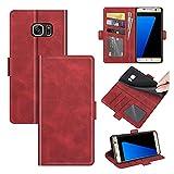 AKC Funda Compatible para Samsung Galaxy S7 Edge Carcasa Caja Case con Flip Folio Funda Cuero Premium Cover Libro Cartera Magnético Caso Tarjetero y Suporte-Rojo