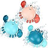 MMTX Niños Juguete de Baño Cangrejo Juguetes Bañera Juguetes Piscina Animal Juguete No tóxico e Inofensivo Juguetes de Agua Cuerda para Bebe Niños Niñas 1 2 3 años(3 Piezas)