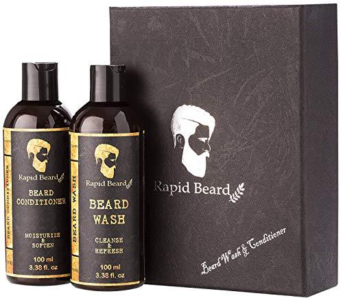 Rapid Beard Beard Shampoo and Beard Conditioner Wash & Growth kit for Men Care - Softener &...