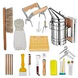 H HUKOER Set di attrezzi per apicoltura,15 pezzi di apicoltore di lusso Starter Kit Tuta per apicoltura Materiale per apicoltura Adatto per apicoltori professionisti e principianti
