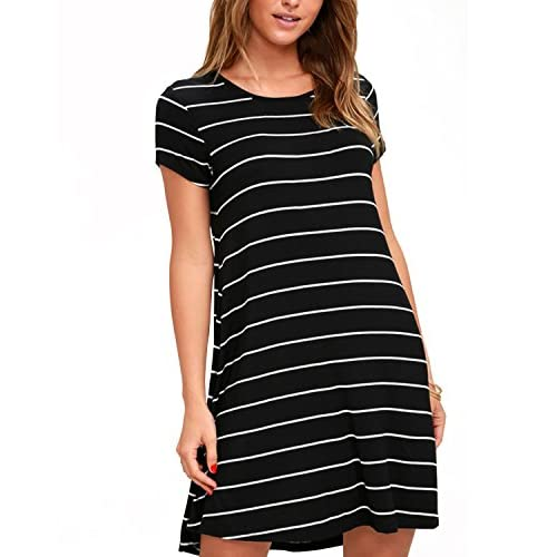 SUNNYME Womens Striped T Shirt Dresses Casual Loose Fit Mini Dress Short Sleeve Tunic Dress Tops