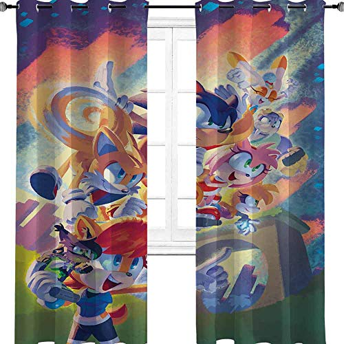 The Hedgehog Sonic Adventure Cartoon Film Anime Comic Farbe Zimmer Verdunklung Isoliert Druck Vorhänge Kinderzimmer Fenster Dekor für Esszimmer/Schlafzimmer 243,8 cm B x 304,8 cm L