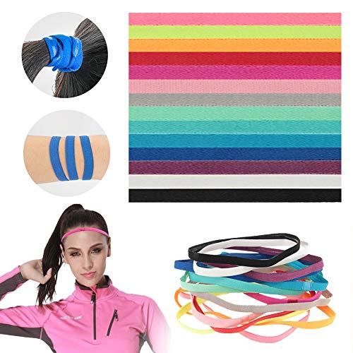 Thursday April 14 Stück Sport Stirnbänder Haarband rutschfest Elastisch Haargummi und Hairband nutzbar für Herren Damen Kinder Fussball Yoga Tennis und Golf