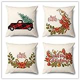 Funda de Cojine Set de 4 Funda de Almohada del Hogar Decorativa Sofá Throw Cojín Decoración Almohada Caso de la Cubierta para Sala de Estar sofás Tema del coche de Navidad,Linen(45x45cm/18x18inch)
