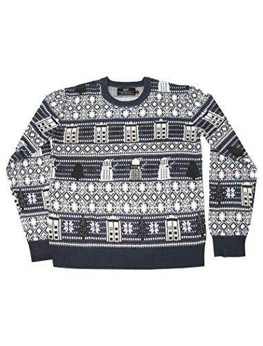Doctor Who Tardis and Daleks Christmas Sweater – Official BBC Festive Jumper by LOVARZI