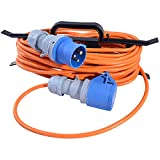 All Lengths Caravan Camping Motorhome Hook Up Cable 16A Site Extension Lead Electric 16 AMP to 16 AMP (1.5mm 3183Y PVC Orange Flex) with FREE Cable Carrier Reel (10m)