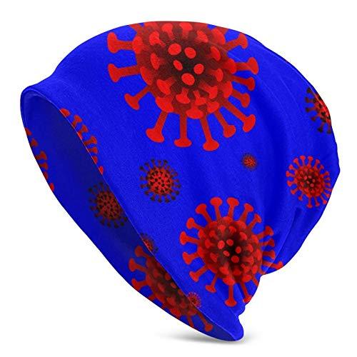 Asa Dutt528251 Slouchy Knit Skull Beanies Mütze Corona Virus Covid Custom Design Strick Beanie - Stretchy & Soft Beanie Wintermütze Skull Cap für Männer & Frauen