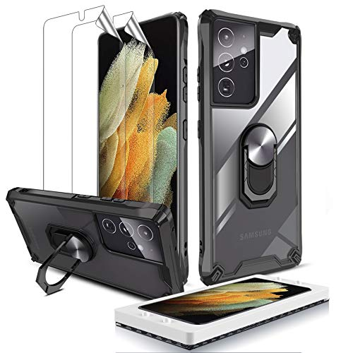 QHOHQ Case for Samsung Galaxy S21 Ultra 5G with 2 Pack Screen Protector(Not Tempered Glass),[360° Rotating Stand] [5X Military Grade Anti-Fall Protection],Transparent Hard PC Back,Soft TPU Edge -Black