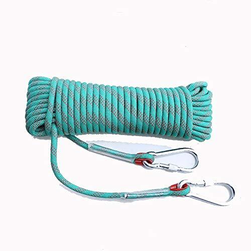 Keliour Corde di Arrampicata Rope Outdoor Alpinismo Sicurezza Corda di Nylon Resistente all'Usura Antiscivolo Fire Escape Rope 10MM 16MM Sicurezza (Verde) per la Pesca Escursionistica