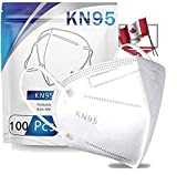 100PCS White 5-Ply Super Filtration Face_Masks_n95 for Adults, with Elastic Earloop and Nose Clip,Comfortable & Breathable Face Protection Pads in a Box,High Filtration and Ventilation