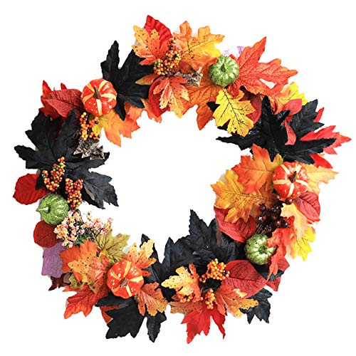 Wreath LILANPING- Fall Autumn Front Door with Pumpkins Pinecone Berries for Ideal for Autumn Halloween Thanksgiving Day