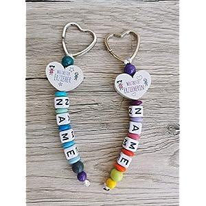 Anhänger Schlüssel/Rucksack Schlüsselanhänger mit Name beste Erzieherin oder bester Erzieher bunt Regenbogen Holz