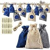 Ahsado 24 Adventskalender Jutesäckchen zum Befüllen, Weihnachten Geschenksäckchen mit 24 Stoffbeutel für Geschenk-Verpackung Weihnachtskalender Deko Kette zum Selberfüllen für DIY Handwerk