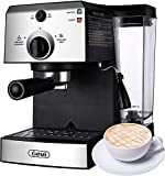 Espresso Machines 15 Bar Fast Heating Coffee Machine with Milk Frother for Espresso, Cappuccino, Latte and Mocha, 1.25L Removable Water Tank, Double Temperature Control System, Stainless Steel, 1350W