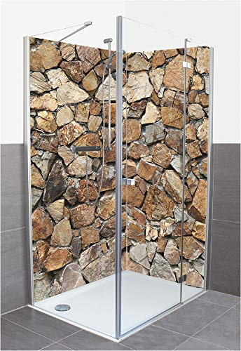 Artland Duschrückwand Eck mit Motiv Fliesenersatz Alu Rückwand Dusche Duschwand Bad 80x200 cm Natur Steine Steinwand Sandfarben T9FK