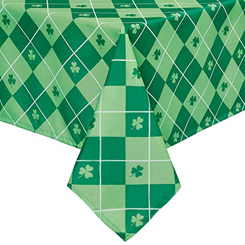DWCN 54 x 54 Inch Checkered St Patrick's Day Tablecloth Square - Waterproof Spillproof Stain Resistant Shamrock Patterned Spring Washable Table Cloth for Dining Room Party Kitchen, Green Clover