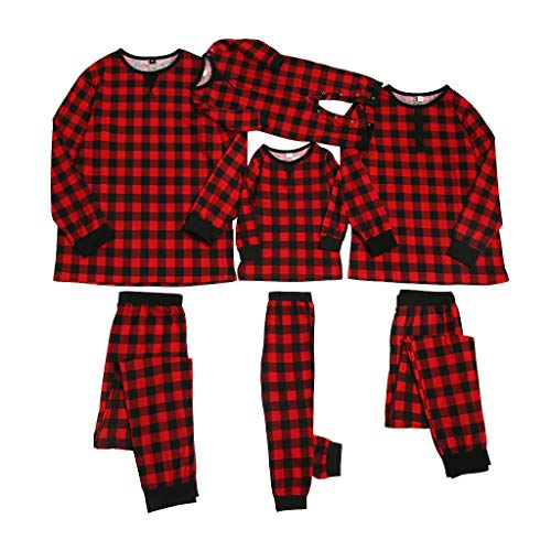 Red Plaid Printed Family Matching Pajamas Set Fall Winter Sleepwear Loungewear Pjs Set for Couple | Matching Family Outfits for Women, Men, Kids, Baby(Baby 6-9 Months)