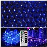 Batteriebetriebene Led-Netz lampen,3M x 2M,200 LED,dekorative Lichterketten für Patio Schlafzimmer Wall Tree [Fernbedienung,8 Modus,Timer,Dimmbar, Benötigt 3 X-Typ-D-Batterien(nicht enthalten)]-Blau