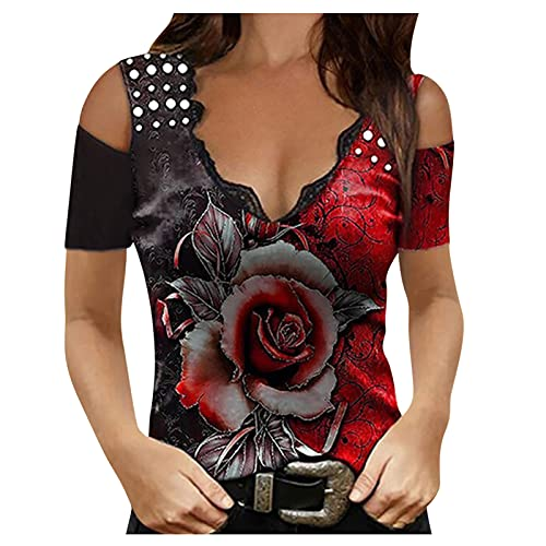riou Camiseta Sin Mangas para Mujer Sexy Camiseta De Corte Bajo con Cuello De Pico Tops Casual De Chaleco de Verano Sueltas de Blusa