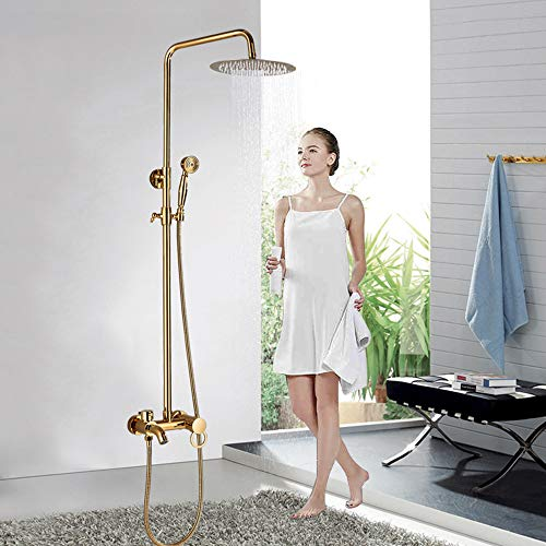 Onyzpily Golden Duscharmatur Duschsystemmit Regendusche und Duschkopf Handbrause für Badezimmer Duschset mit Badewanne für Badezimmer ohne Wasserhahn Wasserfall Dusche