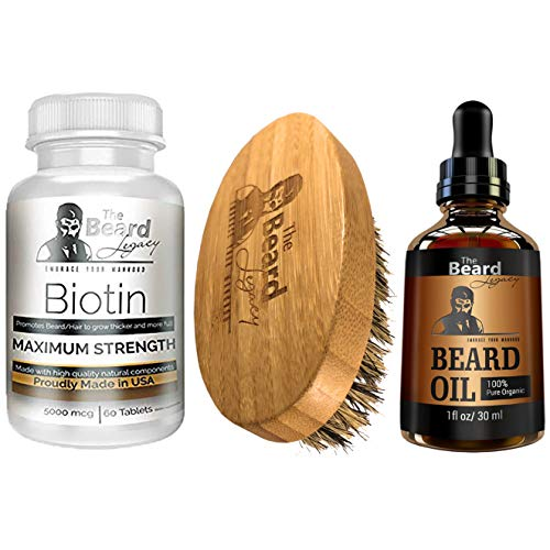 THE BEARD LEGACY Beard Growth Vitamins Supplement Kit for Men - Pills with Biotin, Collagen & Zinc - Boost Faster Hair Growth - Beard Brush - Beard Oil Unscented - Fuller, Manlier straightener Hair.