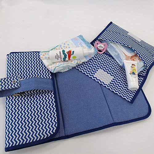 Porta pañales y toallitas de bolso con cambiador para pañales de tela impermeable con cremallera azul