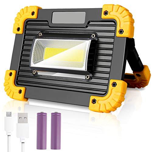 30W LED Arbeitsstrahler, wolketon LED Baustrahler, Tragbares LED Arbeitsleuchte, mit 2*Wiederaufladbare Batterien, inkl. USB Ladekabel, 3 Lichtmodi, Ideale für Baustelle Garage Werkstatt Notfall
