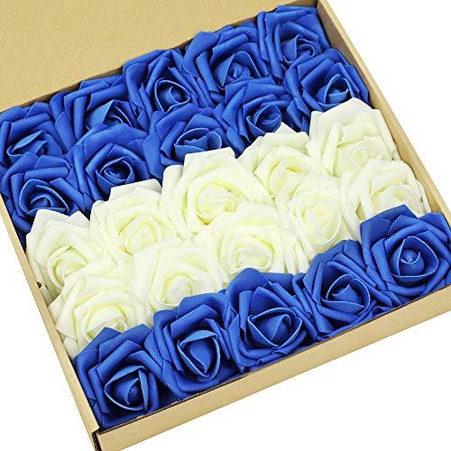 N&T NIETING Künstliche Blumen Rosen, 25 Stück Deko Blumen Fake Rosen mit Stielen DIY Hochzeit Blumensträuße Braut Zuhause Dekoration, Elfenbein & Blau