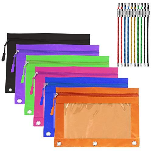 YuCool Federmäppchen mit Reißverschluss, 6 Stück, mit 6 Reißverschlüssen, 3 Nieten-verstärkte Löcher, mit transparentem PVC-Fenster, 10 Stück Draht-Schlüsselanhänger (mehrfarbig)