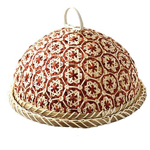 Handgemaakte bamboe voedsel fruit rieten rotan stro mand brood met deksel ronde plaat keuken opslag brood organisator natuurlijke gezondheid
