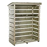 Charles Bentley Wooden Garden Small Log Store Heavy Duty Firewood Storage Nordic Spruce - Slatted Design