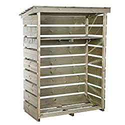 Features : 1x kindling shelf that can be drilled to the log store at your required height, Pressure treated wood, Slatted design and slanted roof to protect against the elements, Raised floor allowing air circulation to dry logs Material : FSC certif...