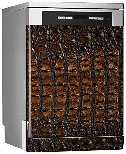 Megadecor decoratief vinyl voor vaatwasser, afmetingen standaard 67 cm x 76 cm, krokodillenleer donkerbruin