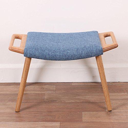 Vast creatieve eiken salontafel kruk met 4 poten grijs geweven sofa-kruk eenvoudig wasbaar vrije tijd stoel, 62x35x40 cm 402