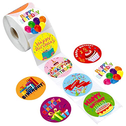 YCYY 500/Roll Happy Birthday Stickers for Children 8 Patterned Birthday Party Decorations Greeting Card Labels