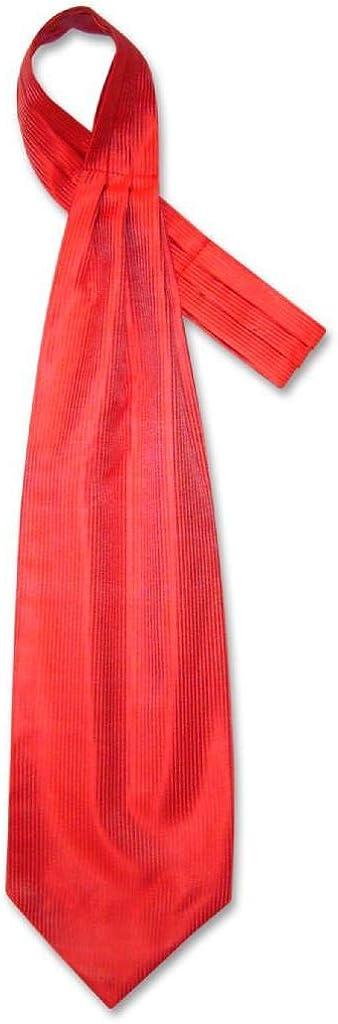 Antonio Ricci ASCOT Solid RED Ribbed Pattern Color Cravat Men's Neck Tie