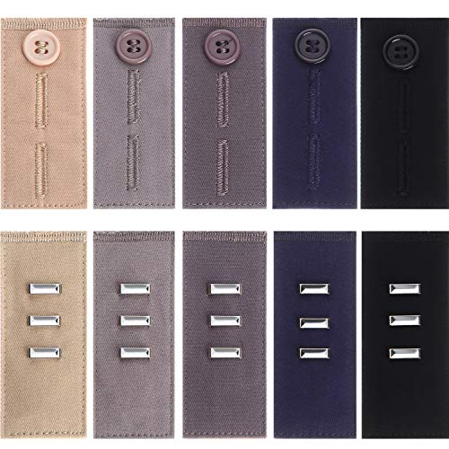 10 extensores de cintura elásticos com botão na cintura, extensor de gancho para calça jeans masculina feminina, 2 tipos