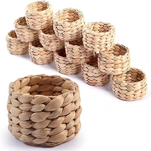SOKFARM 12pcs Round Woven Napkin Ring, Water Hyacinth Napkins Rings, Rustic Napkin Rings, Handmade Braided Grass Napkin Ring, Farmhouse Napkin Rings, Spring Napkin Rings, Napkin Holder Set of 12