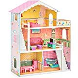 Best Choice Products 44in 3-Story Wood Dollhouse Mansion...
