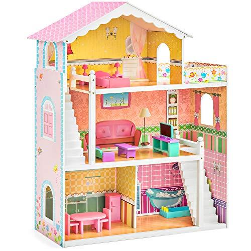Wood Dollhouse Mansion Playset