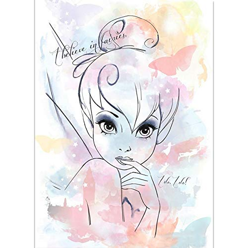 N / A Butterfly Elf cartoon poster wall art canvas poster printing canvas decoration painting living room bedroom decoration painting 50x70CM NO frame