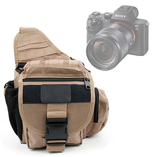 DURAGADGET Bolsa/Funda marrón Estilo Militar para cámara Sony a7 II, CyberShot DSC-RX100 III, a9, RX10 IV/DSC-RX10M4, Alpha A7R III, A7 III, RX100 Vi/DSC-RX100M6, DSC-HX95, DSC-HX99
