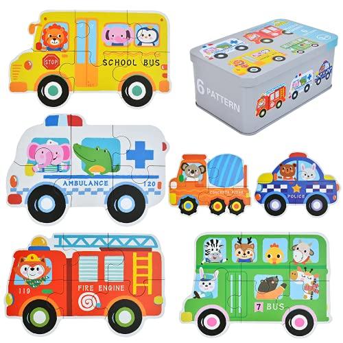 EKKONG Puzzles de Madera,Vehículo Rompecabezas,Juguetes Bebes, Puzzles de Madera Educativos para Bebé, Juguetes niños 1 año 2 3 4 5 6 años (6 Pack)