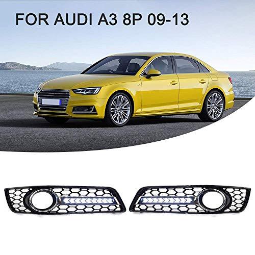 TDPQR 2 Pcs Auto FrontstoßStange Nebelscheinwerfer Rahmen für Audi A3 8P 2009-2013, ABS Chrom FrontstoßStange Blinker Nebelscheinwerfer Lampenabdeckung KüHlergrill Rahmendekoration, GläNzend Schwarz