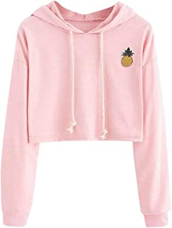 Makulas Womens Hoodie Crop Top Pinapple Appliques Drawstring Long Sleeve Sweatshirt Fashion Pullover Tunics Loose Blouse