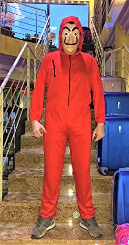 Disfraz de Ladrón + Fusil, Inspirado en La Casa de Papel. Compuesto de Mono con Capucha, máscara y Fusil de Asalto.No es el Original. (7-9 años. SIN Fusil)