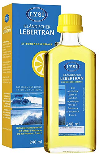 LYSI Cod Liver Oil Rich in Omega 3, Natural Vitamins, Lemon Flavour 240ml, for Immune System, Comes from Fresh Waters of Iceland